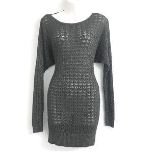 Ann Taylor Metallic Grey Sweater D0174